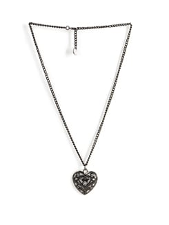 Oxidized Silver Heart Pendant  Necklace - Addons