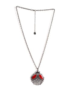Silver And Red Pendant Necklace - Addons