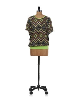 Printed Top With Neon Green Border - AND