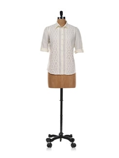 White Lace Work Shirt - AND