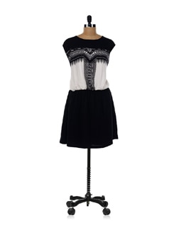 Black And White Tribal Print Dress - AND
