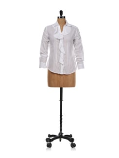 White Shirt With Ruffled Front - AND