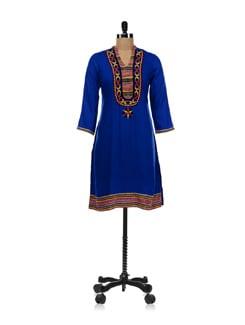 Blue Himachal Style Kurta - Global Desi