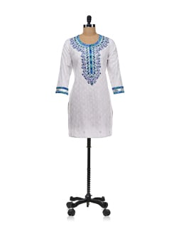 White Kurta With Blue Accents - Global Desi
