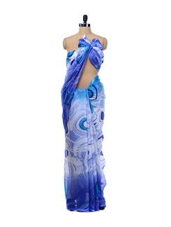 White Chiffon Saree With Abstract Prints - Garden