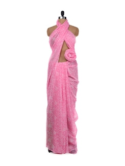 Light Pink Printed Saree - Garden