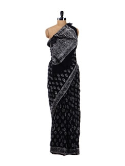 Black Cotton Printed Saree - Nanni Creations 16693