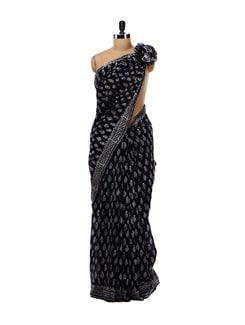 Black Printed Cotton Saree - Nanni Creations