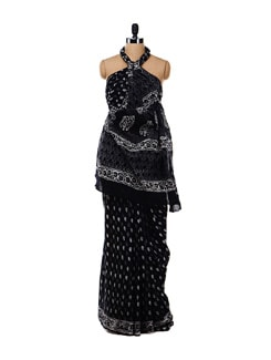 Black Printed Cotton Saree - Nanni Creations 16697