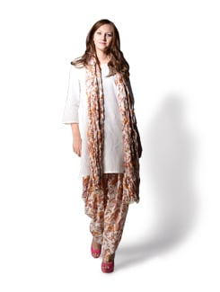 White Printed Patiala Salwar And Dupatta - WILD WOMAN