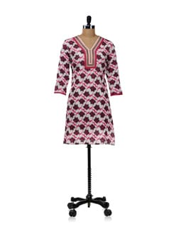 White Kurti With Pink Floral Design - WILD WOMAN