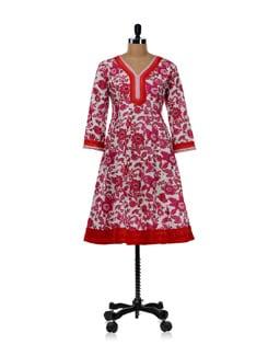 Kalidar Kurti With Pink Floral Pattern - WILD WOMAN