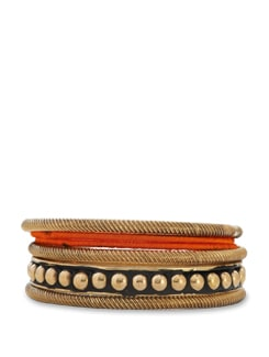 Orange And Gold Bangle Set - Trinketbag
