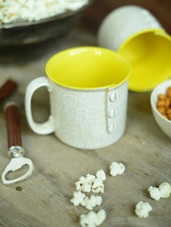 Buttons Noodles Mug Set Of 2- White And Yellow - Cultural Concepts
