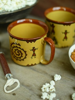 Warli Noodles Mug - Set Of 2 - Cultural Concepts