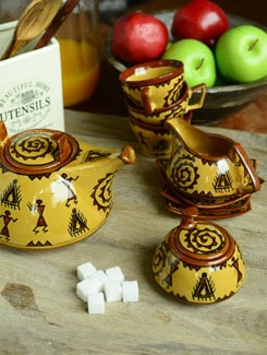 Warli Tea Set - Set Of 15pcs - Cultural Concepts