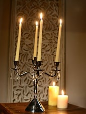 4 Arms Candle Stand With Crystal Drops - Cultural Concepts