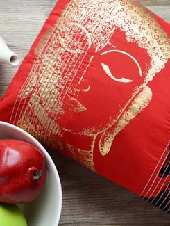 Red And Black Buddha Print Cushion Cover - AMOROSA