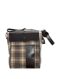 Brown Check Print Sling Bag - YELLOE
