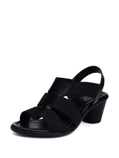 Black Round Heel Sandals - La Briza