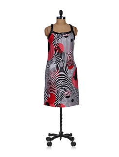 Strappy Red And Black Printed Dress - SPECIES
