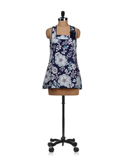 Navy Blue Sequined Floral Dress - SPECIES