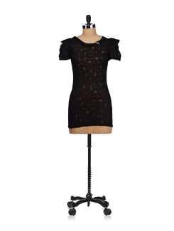 Stylish Black Dress With Embellished Neck - SPECIES