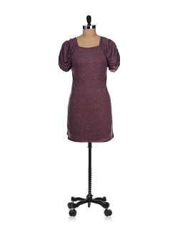 Purple Cowl Sleeves Dress - SPECIES
