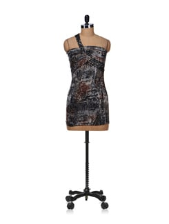 black abstract print tube dress - SPECIES
