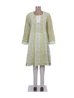 Green & White Embroidered Kalidaar Kurta - Ada