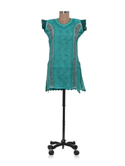 Shorty Green Chikankari Kurta - Ada
