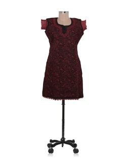 Black And Maroon Chikankari Kurta - Ada