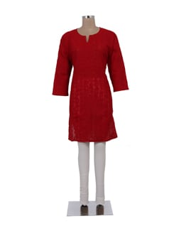 Red Hot Cotton Chikankari Kurta - Ada