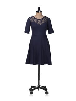 Navy Blue Flare Dress - GRITSTONES