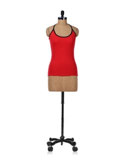 Red Halter Neck Tank Top - GRITSTONES