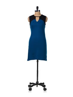 Stylish Blue And Black Dress - GRITSTONES