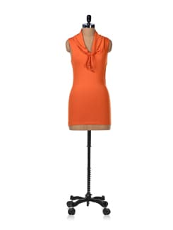 Orange Cowl Neck Dress - GRITSTONES