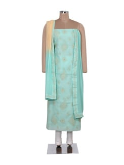 Sea Green Chikankari Dress Material - Ada