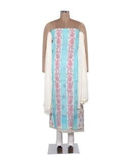 Pink And Sky Blue Chikankari Dress Material - Ada