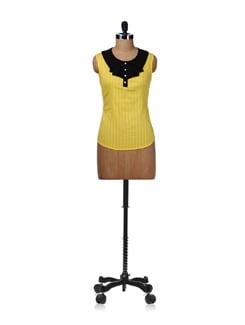 Yellow Sleeveless Frill Neck Top - Kaxiaa