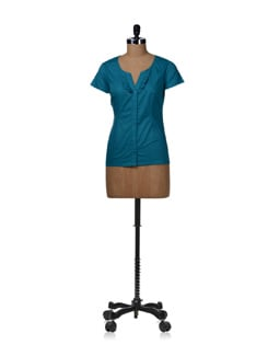 Turquoise Blue Ruffled Shirt - Kaxiaa