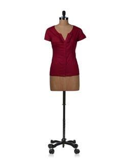 Burgundy Ruffled Neck Shirt - Kaxiaa