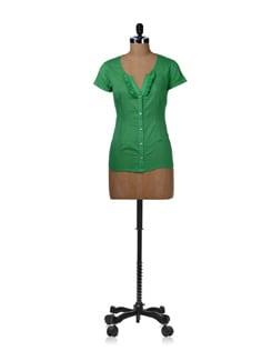 Parrot Green Ruffled Shirt - Kaxiaa