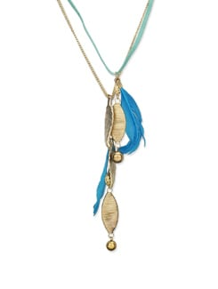Gold & Blue Feather Pendant Neckpiece - Art Mannia