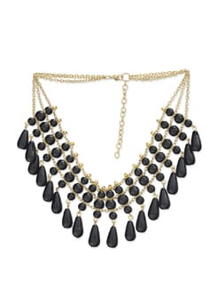 Black & Gold Multichain Beaded Necklace - Art Mannia