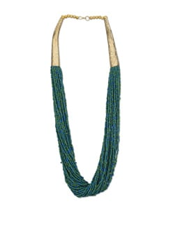 Green Twisted Beads Necklace - Art Mannia