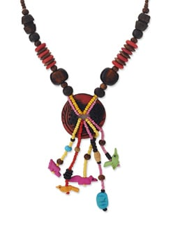 Fun & Quirky Multicoloured Necklace - Art Mannia