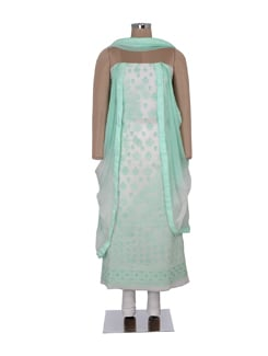 Classic White And Green Embroidered Suit Piece - Ada