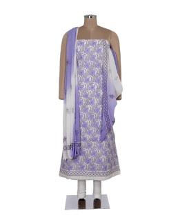 Lilac And White Chikankari Suit Piece Set - Ada