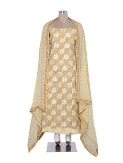 Floral Embroidered Chikankari Suit Material - Ada